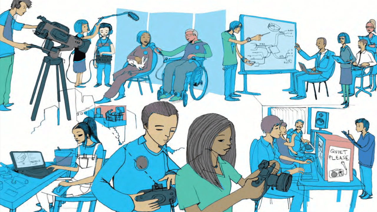 A montage of hand-drawn sketches of digital technologies in use in an educational setting